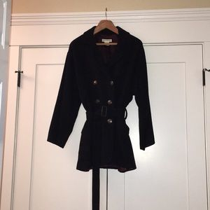 Banana Republic belt w/buckle wool coat in navy